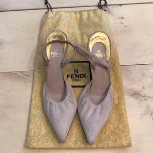 Vintage 90's Fendi Suede Tan Kitten Heels 36.5 6.5